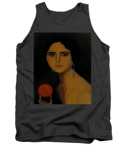Untitled Woman With Orange Tank Top by Manuel Sanchez