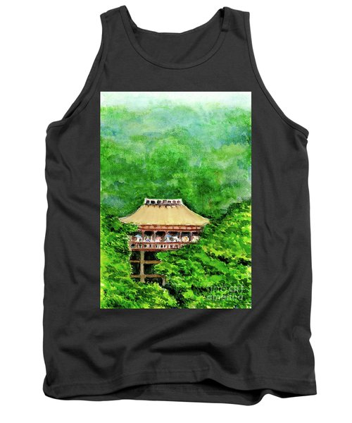Tank Top featuring the painting Up High Temple by Yoshiko Mishina