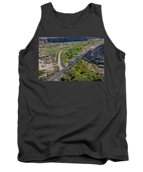 Tank Top featuring the photograph Up Tracks Cross The Mojave River by Jim Thompson