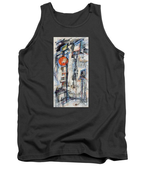 Tank Top featuring the painting Urban Street 1 by Mary Schiros