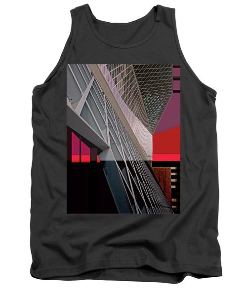 Tank Top featuring the digital art Urban Sunset by Walter Fahmy