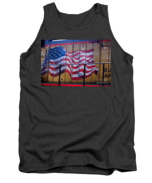 Us Flag On Side Of Freight Engine Tank Top