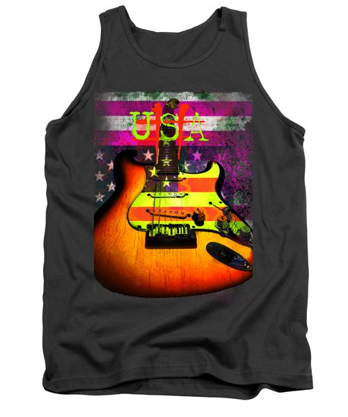 Usa Strat Guitar Music Tank Top