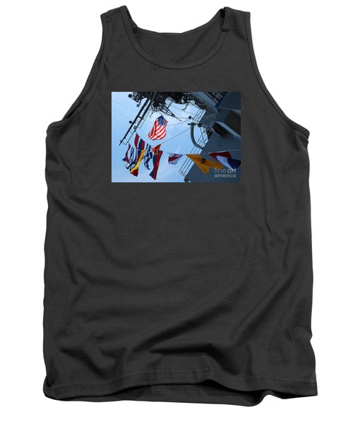 Tank Top featuring the photograph Uss Midway Flag by Cheryl Del Toro