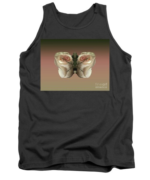 Vanilla Butterfly Rose Tank Top