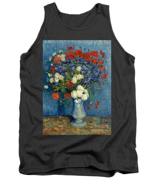 Vase With Cornflowers And Poppies Tank Top