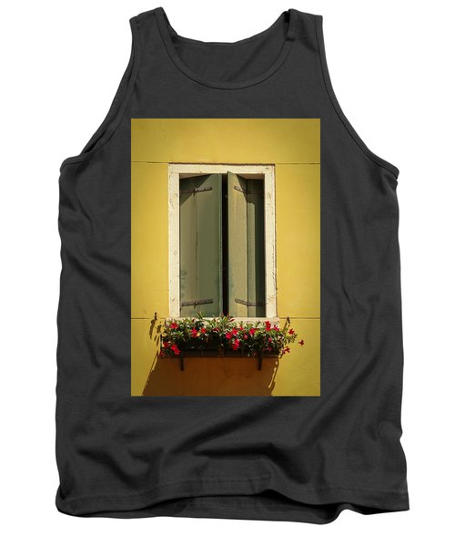 Tank Top featuring the photograph Venice Window In Green by Kathleen Scanlan
