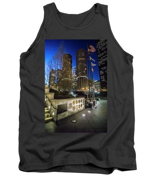 Veteran's Memorial On The Chicago Riverwalk At Dusk Tank Top