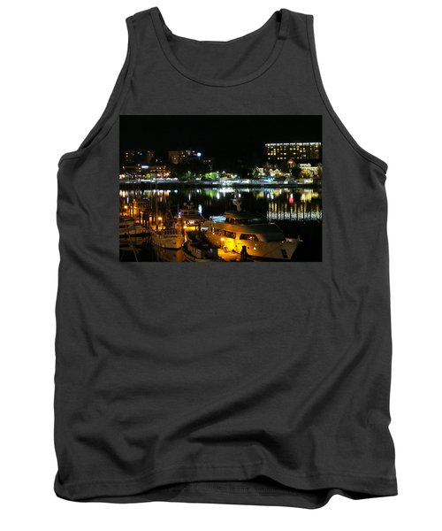Victoria Inner Harbor At Night Tank Top by Betty Buller Whitehead
