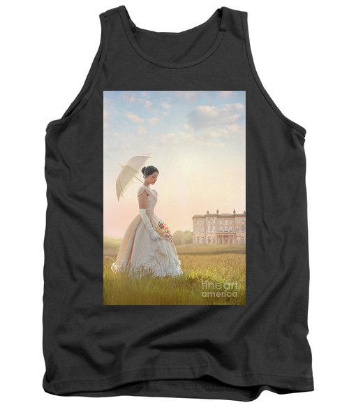 Victorian Woman With Parasol And Fan Tank Top