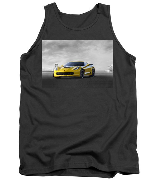 Tank Top featuring the digital art Victory Yellow  by Peter Chilelli