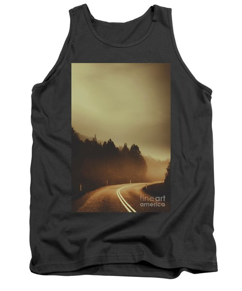 View Of Abandoned Country Road In Foggy Forest Tank Top