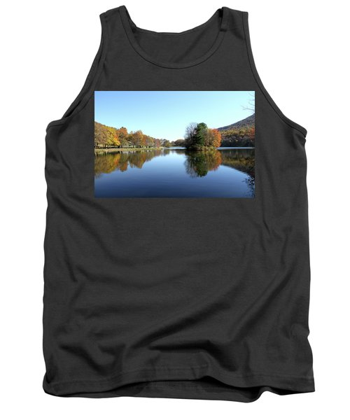 View Of Abbott Lake With Trees On Island, In Autumn Tank Top by Emanuel Tanjala