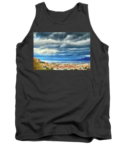Tank Top featuring the photograph View Of Messina Strait Sicily With Dramatic Sky by Silvia Ganora