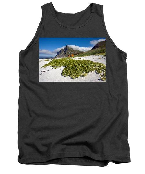 Vikten Beach With Green Grass, Mountains And Clouds Tank Top