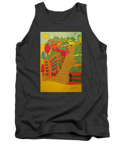 Village With Blue Sliver Moon Tank Top