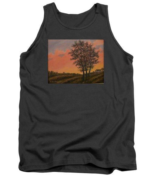 Tank Top featuring the painting Vineyard Sundown by Kathleen McDermott