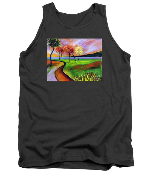 Tank Top featuring the painting Vinoy Park In Purple by Elizabeth Fontaine-Barr