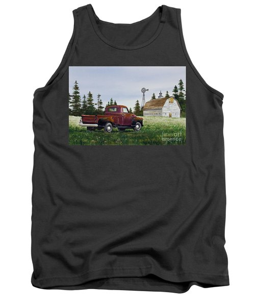 Tank Top featuring the painting Vintage Country Pickup by James Williamson