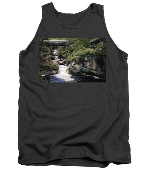 Vintage Covered Bridge And Waterfall Tank Top by Jason Moynihan