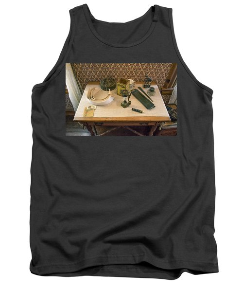 Tank Top featuring the photograph Vintage Gentlemen's Preparation Table by Gary Slawsky