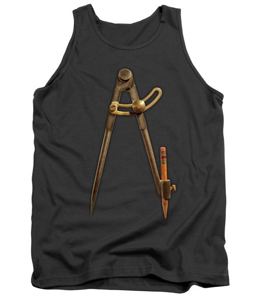 Vintage Iron Compass Floating Over White Tank Top