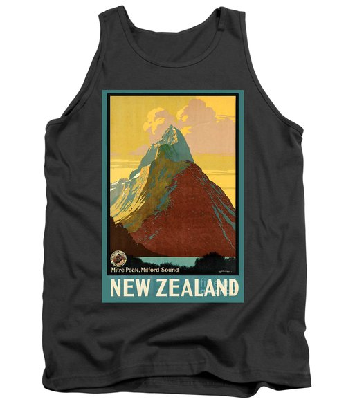Vintage New Zealand Travel Poster Tank Top