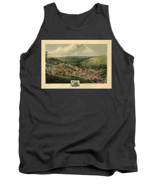 Tank Top featuring the photograph Vintage Pottsville Pennsylvania Etching With Remarque by John Stephens