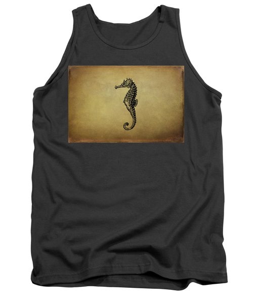 Vintage Seahorse Illustration Tank Top by Peggy Collins