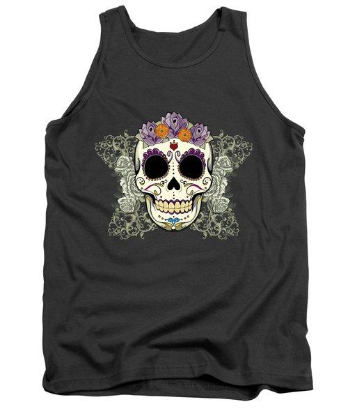 Vintage Sugar Skull And Flowers Tank Top