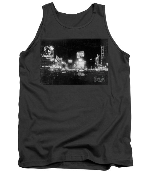 Tank Top featuring the photograph Vintage Times Square At Night Black And White by John Stephens