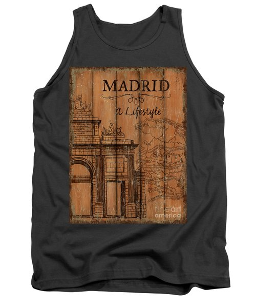 Tank Top featuring the painting Vintage Travel Madrid by Debbie DeWitt
