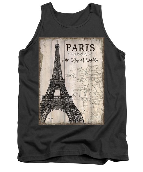 Vintage Travel Poster Paris Tank Top by Debbie DeWitt