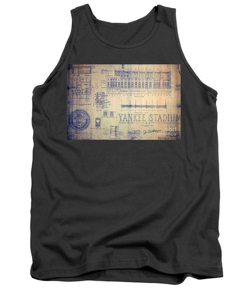 Vintage Yankee Stadium Blueprint Signed By Joe Di Maggio Tank Top by Peter Gumaer Ogden Collection