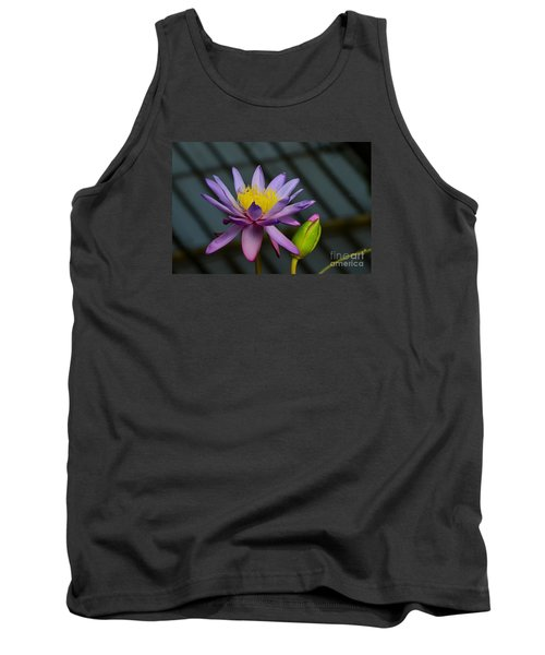Violet And Yellow Water Lily Flower With Unopened Bud Tank Top
