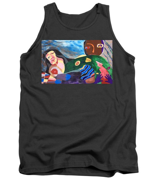 Tank Top featuring the drawing Violet Night by Hang Ho