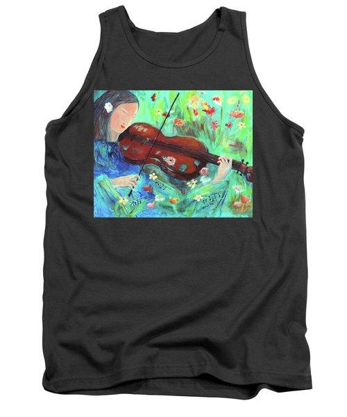 Violinist In Garden Tank Top