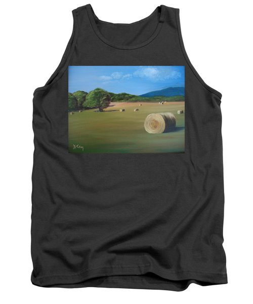 Tank Top featuring the painting Virginia Hay Bales by Donna Tuten