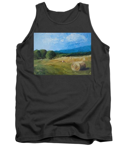 Tank Top featuring the painting Virginia Hay Bales II by Donna Tuten