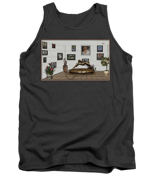 Tank Top featuring the mixed media Virtual Exhibition -statue Of Girl by Pemaro