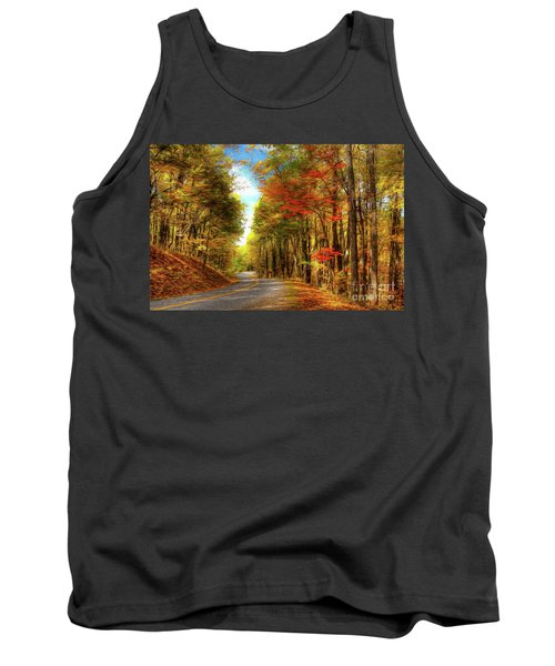 Tank Top featuring the painting Vivid Autumn In The Blue Ridge Mountains Ap by Dan Carmichael