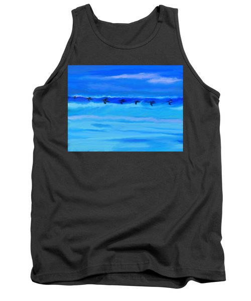 Vol De Pelicans Tank Top by Aline Halle-Gilbert