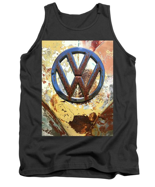 Vw Volkswagen Emblem With Rust Tank Top by Kelly Hazel