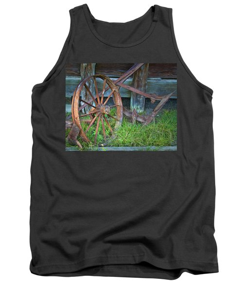 Tank Top featuring the photograph Wagon Wheel And Fence by David and Carol Kelly