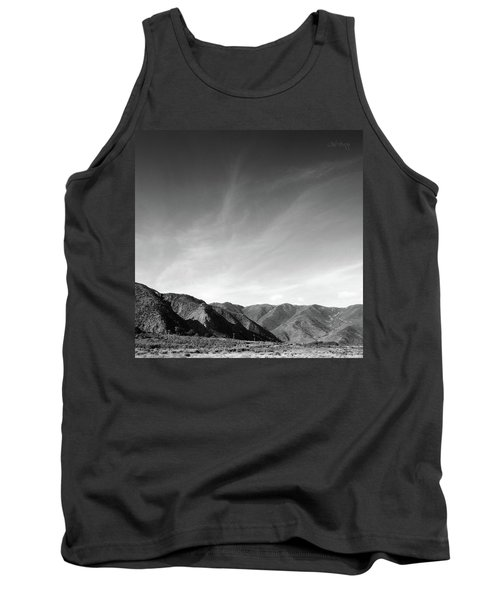 Tank Top featuring the photograph Wainui Hills Squared In Black And White by Joseph Westrupp