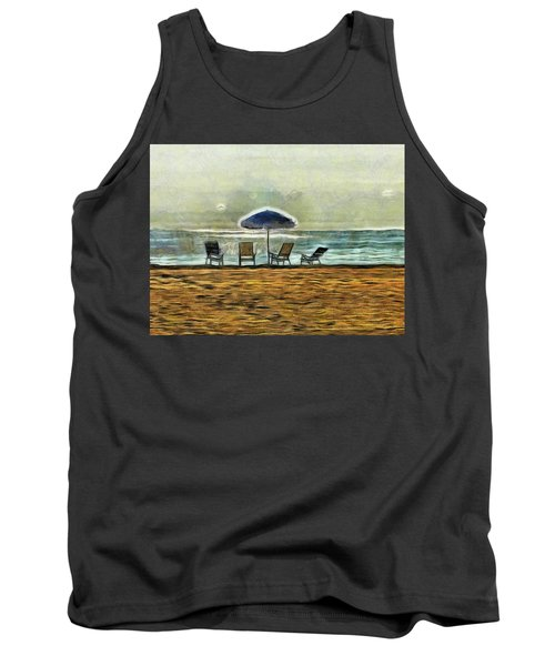 Tank Top featuring the mixed media Waiting On High Tide by Trish Tritz