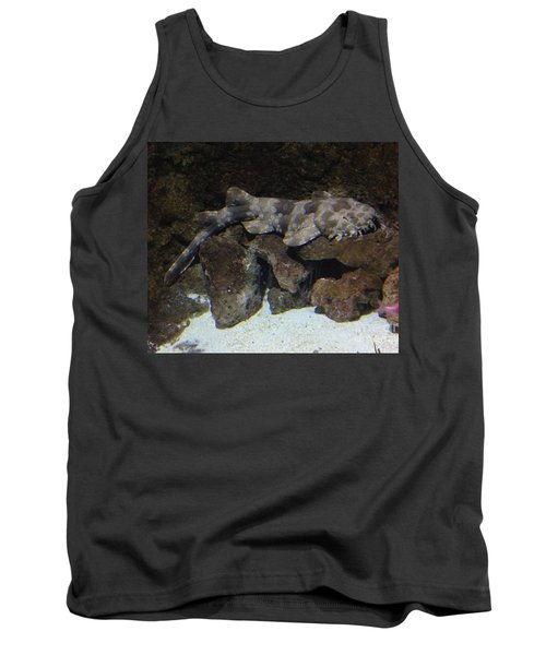 Tank Top featuring the photograph Waiting To Eat You - Spotted Wobbegong Shark by Richard W Linford