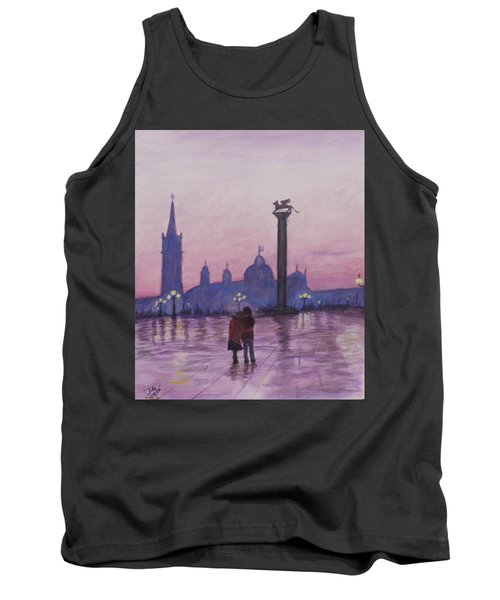 Tank Top featuring the painting Walk In Italy In The Rain by Dan Wagner