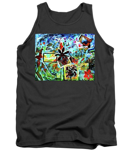 Tank Top featuring the mixed media Walking Amongst The Monarchs by Genevieve Esson