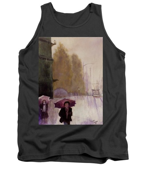 Tank Top featuring the painting Walking In The Rain by Dan Wagner